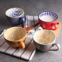 Cerâmica pintados à mão copo de café criativo do vintage xícara café bar suprimentos em relevo personalidade café da manhã copo colorido pintado à mão|Xícaras e pires| |  -