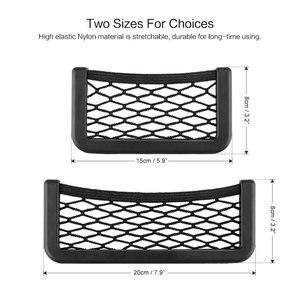 Image 5 - Onever Bolso Universal pequeño lateral para asiento de coche, organizador de bolsillo de malla con cordón, para billetera, teléfono, red