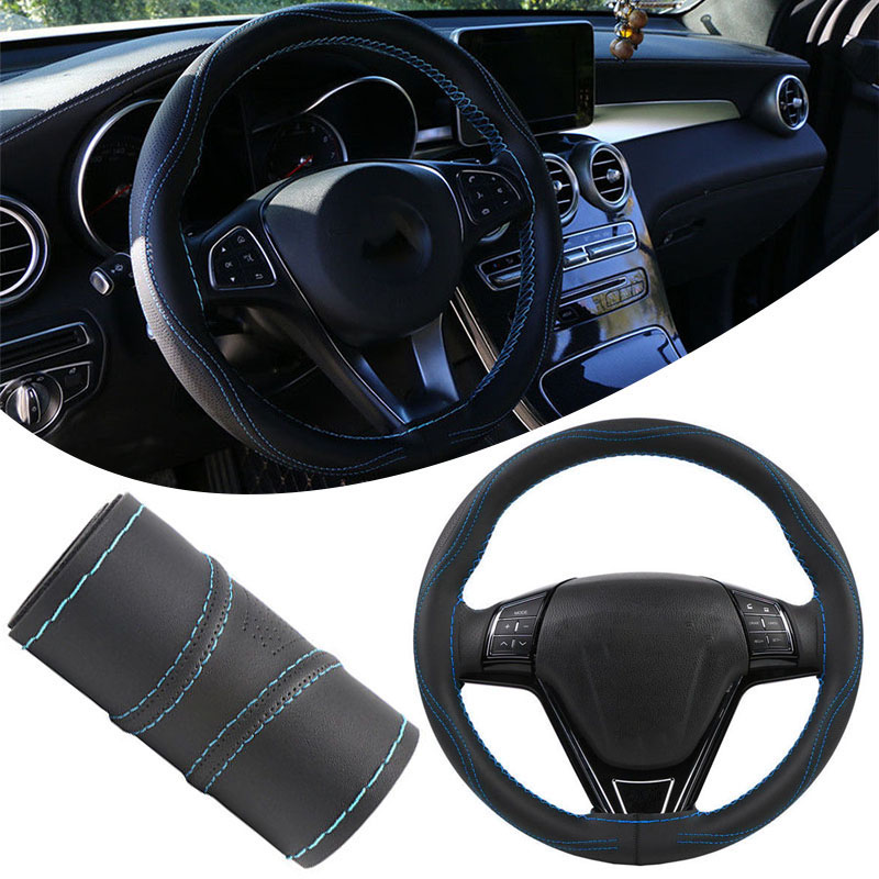 Image 3 - Mayitr DIY Micro Fiber Leather Car Steering Wheel Cover Soft Anti Slip Braid With Needles Thread 38cm Steering Covers Hot Sale-in Steering Covers from Automobiles & Motorcycles