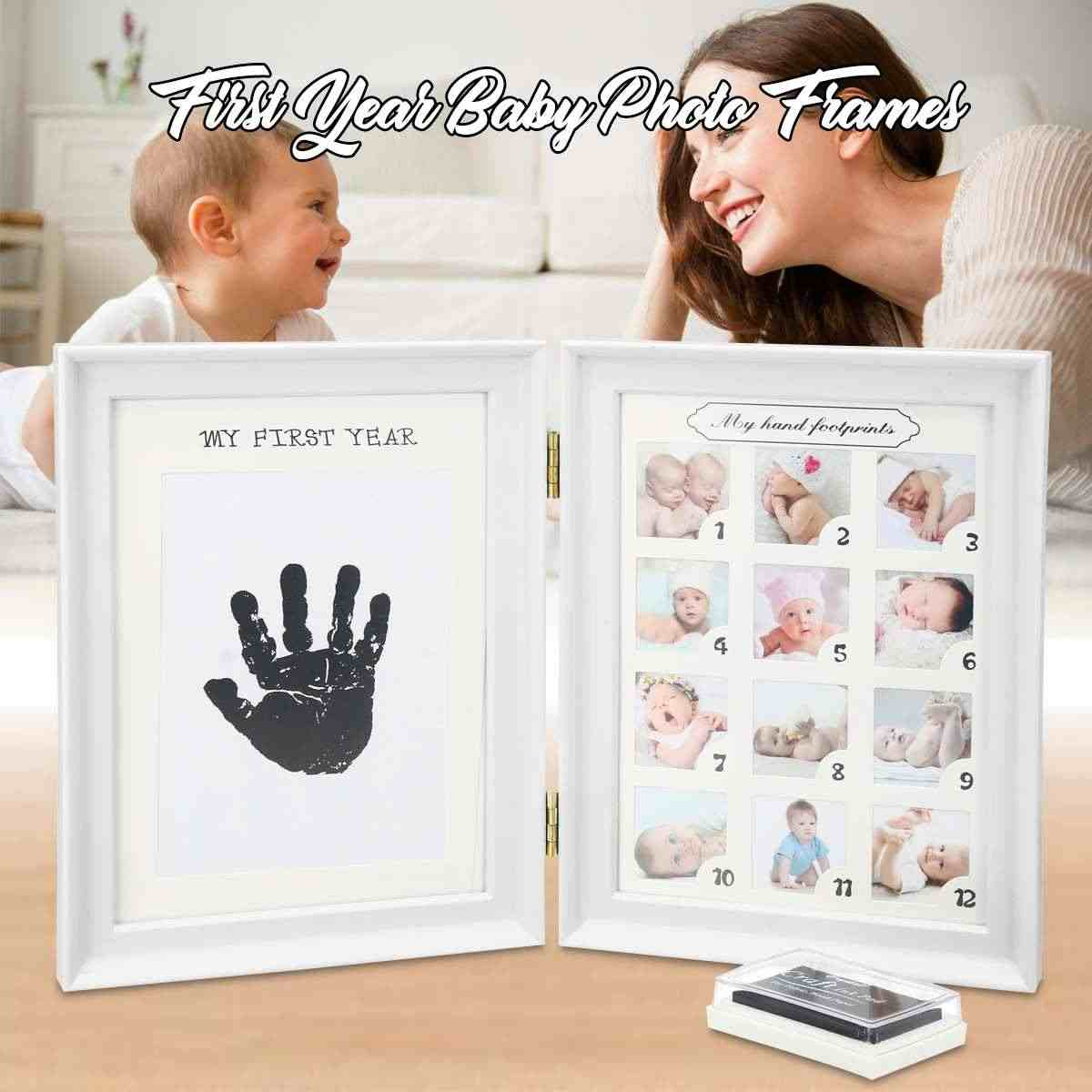 My First Year Baby Gift Kids Birthday Gift Home Family Decoration Ornaments 12 Months Picture Photo Frame with Craft ink Pad
