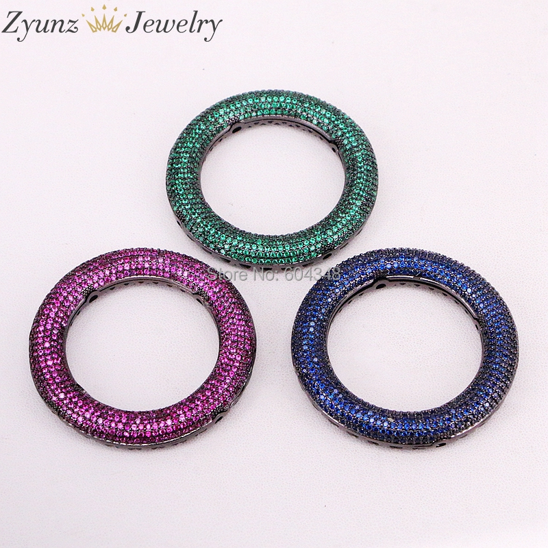 LARGE 50mm SEMI PRECIOUS Stone Donut Circle Pendant Bead Necklace /& Cord