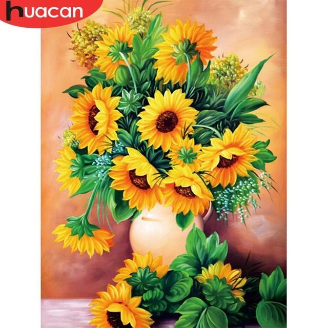 HUACAN Diamond Mosaic Flower Crafts Full Round Rhinestone Kit Painting Cross Stitch Sunflower Home Decor