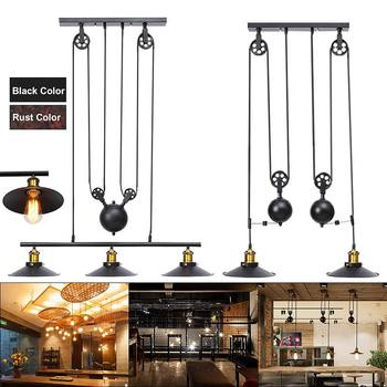 Industrial Vintage Hanging Retractable Pulley Pendant Light Holder Lamp Fixture fit for E27 Bulb AC110-240V