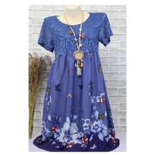 Summer Lace Hollow Out Floral Print Dress Women Short Sleeve Empire Plus Size A-Line Casual Flower Large