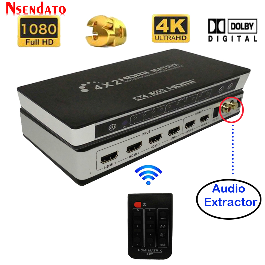 Full HD 4K 2K 3D 1080P HDMI Matrix 4X2 Switch Splitter Converter Adapter with Remote Control