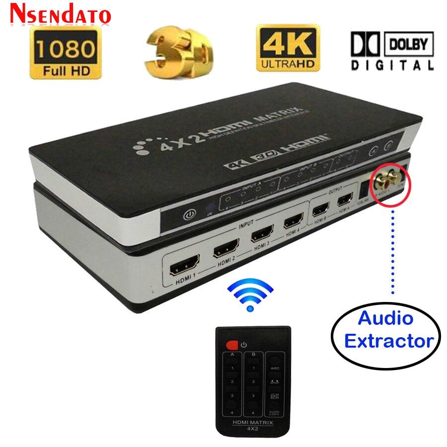 Full HD 4 K 2 K 3D 1080 P HDMI Matrix 4X2 commutateur séparateur convertisseur adaptateur avec télécommande numérique toslink audio + L/R extracteur