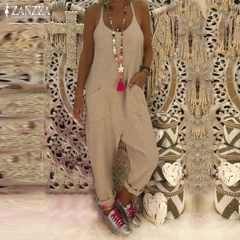 Plus Size Linen Overalls Women's Casual   Jumpsuits   2019 ZANZEA Kaftan Strap Rompers Female Harem Pants Combinaison Femme Pantalon