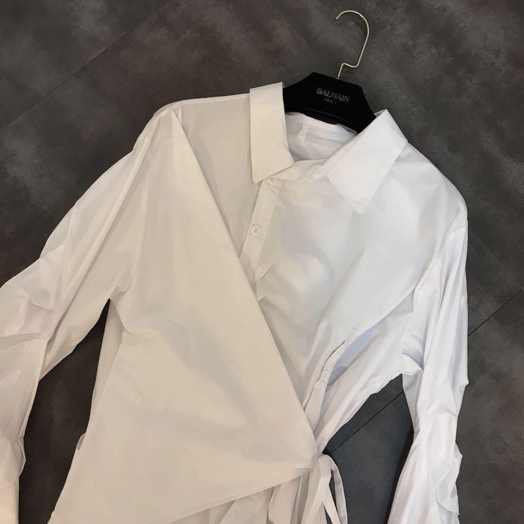 DEAT 2019 nouveau printemps mode femmes vêtements décontracté lâche col rabattu irrégulière chemise robe femme Cestido ZA009100 - 4