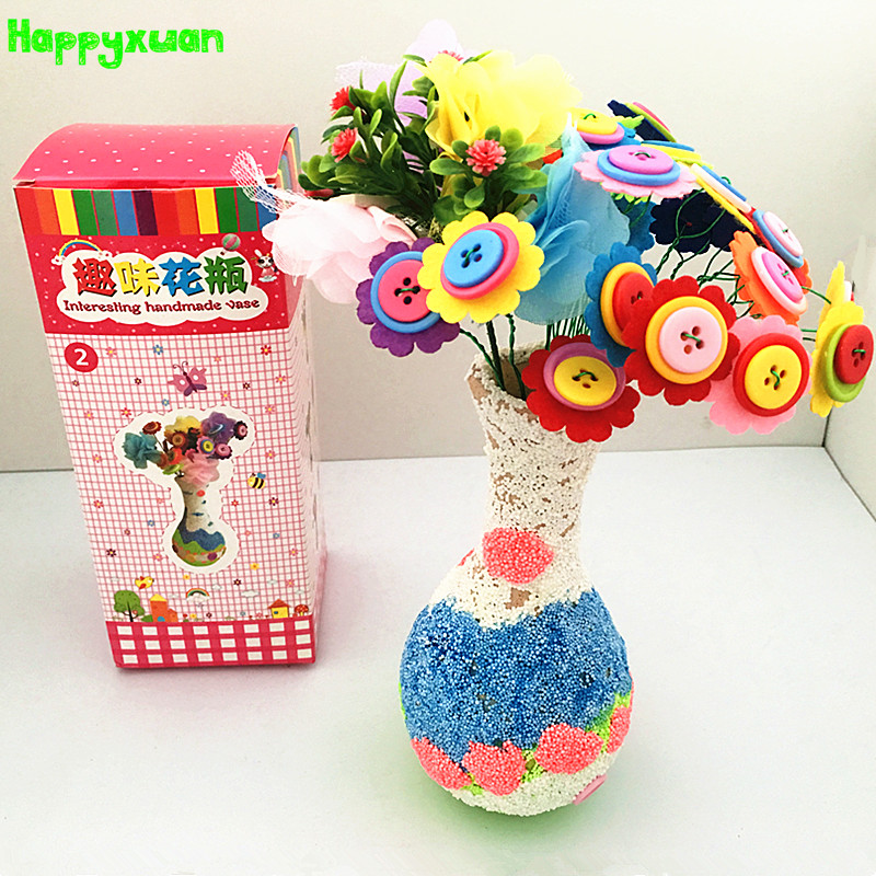 Happyxuan DIY Felt Fabric Button Flower Vases Kid Hand Crafts Supplies Kits Kindergarten Creative Christmas Toys Decoration Gift