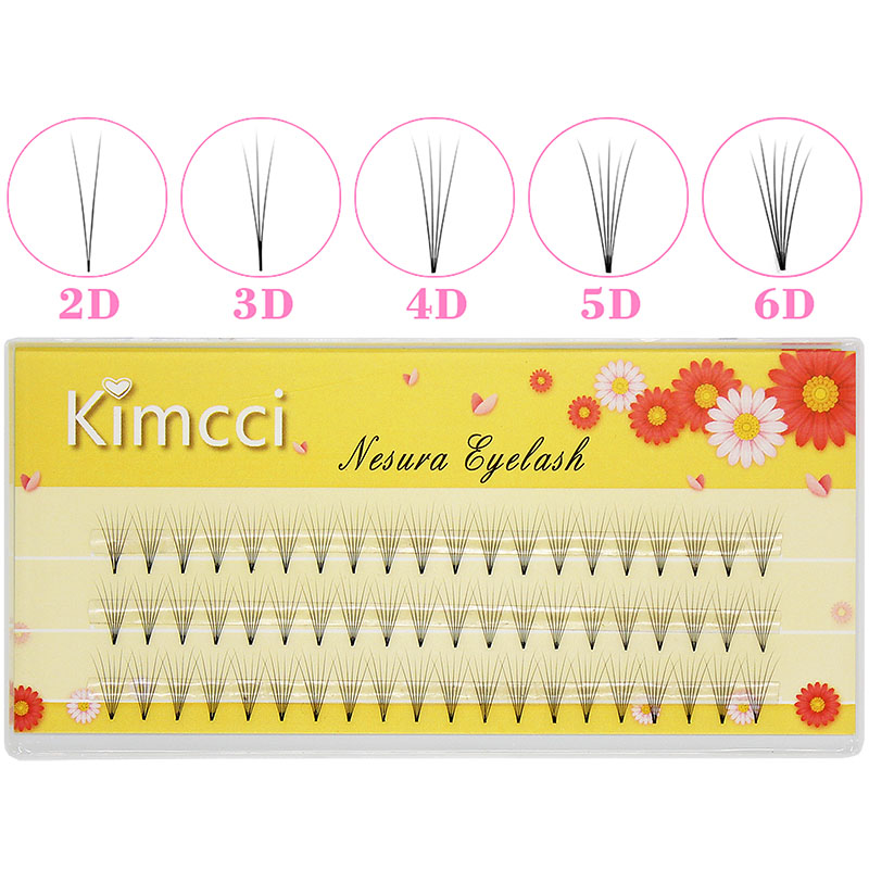 Kimcci Lashes 3Lines 2D/3D/4D/5D/6D Heat Bonded Pre Made Volume Fans Faux Mink Premade Russian Volume Eyelash Extension Supplies