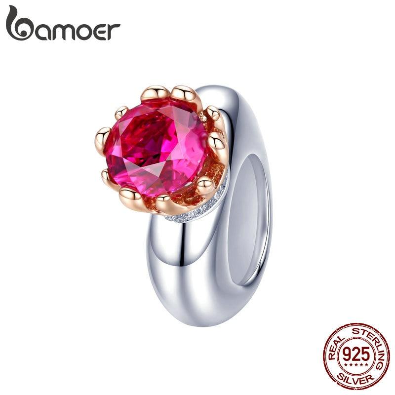 BAMOER Romantic 925 Sterling Silver Pink Red Love Heart Beads Charm Fit Girlfriends Bracelets Bangles Zircon Jewelry SCC1116