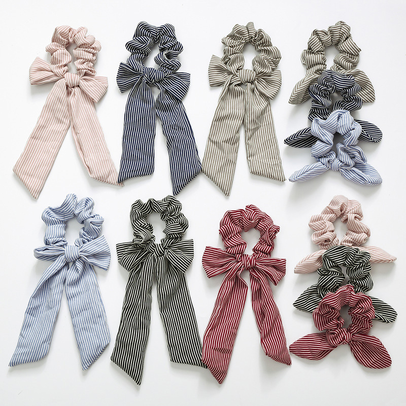 2019 New Bow Streamers Hair Ring Fashion Ribbon Girl Hair Bands Scrunchies Ponytail Hair Bows Girl Holder Rope Hair Accessories