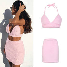 2018 Hot UK 2 pcs Vrouwen Backless Crop Top Bodycon Rok Co ord Set Clubwear High Street Zomer D ruk(China)