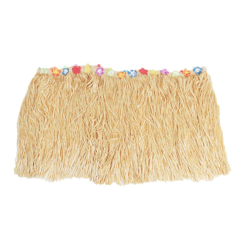 Hawaiian Luau Beige Flower Grass Garden Beach Party Table Skirt Cover Decor