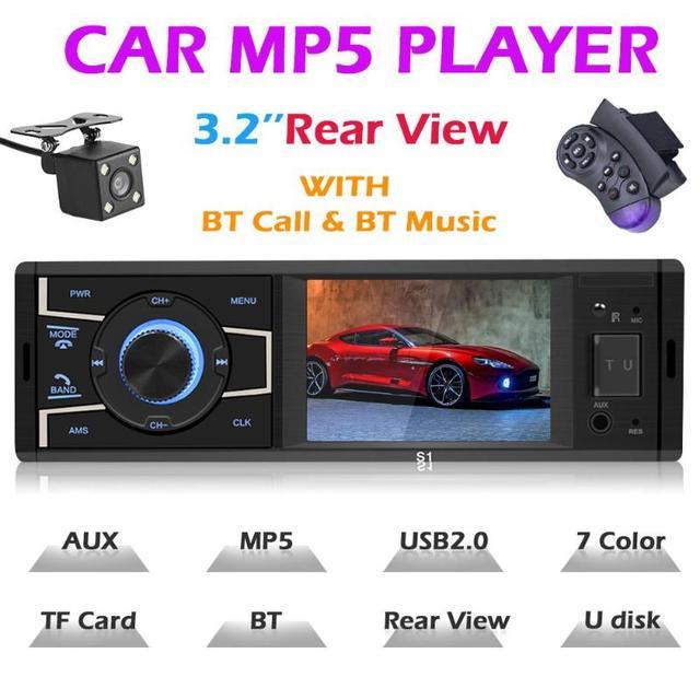 3.2 inch Car MP5 Player Bluetooth Car Stereo Player FM Radio USB AUX-in Remote Control Steering Wheel Control