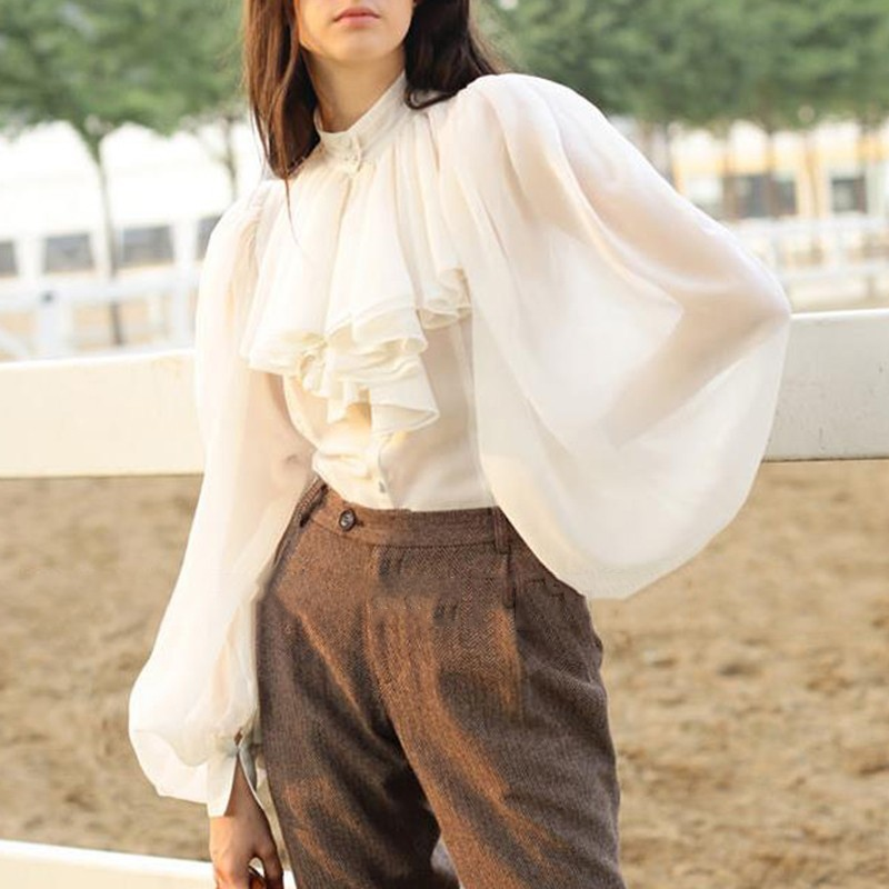 TWOTWINSTYLE Chiffon Shirts Blouse Women Stand Collar Lantern Long Sleeve Tops Female Elegant Fashion Clothes 2019 Spring