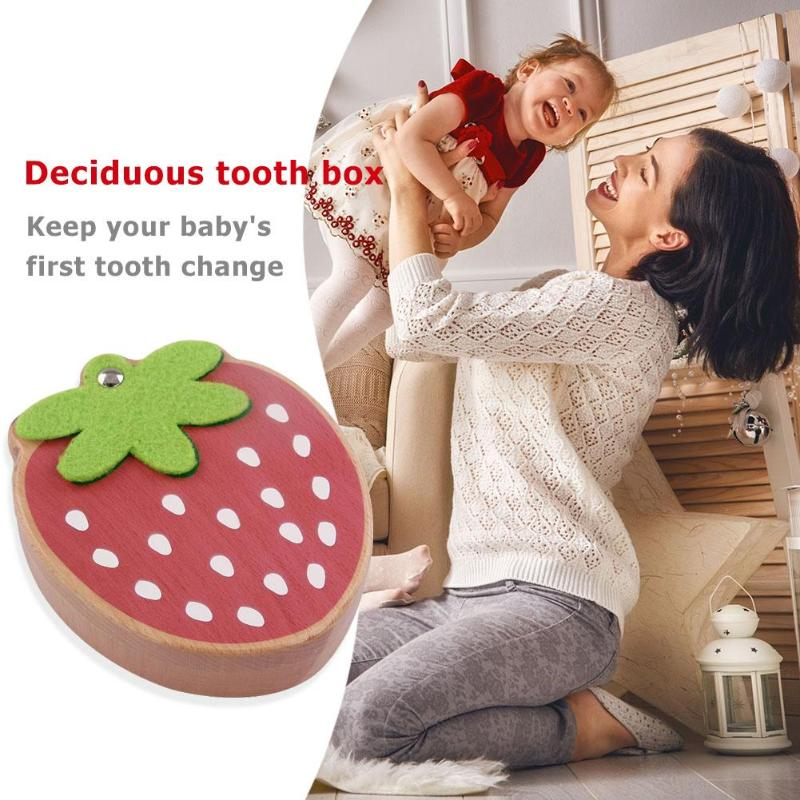 Strawberry Box Souvenir Tooth Collection Wooden Baby Deciduous Tooth Box Educational Toys For Children Creativity