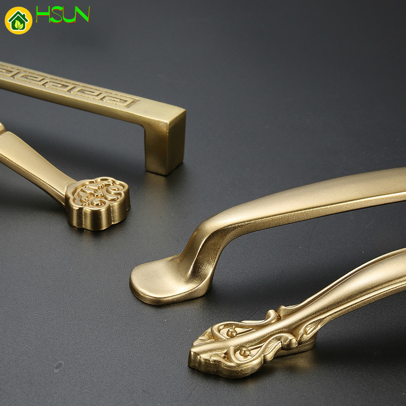 1 pc High quality Chinese Antique Brass gold Handle European Style Simple Wardrobe Cabinet Drawer Pull Knobs in Cabinet Pulls from Home Improvement
