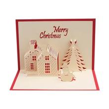 JIELISI 3D Pop Up Merry Christmas castle Handmade Custom Greeting Cards Gifts