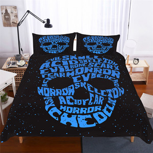 Image 1 - Bedding Set 3D Printed Duvet Cover Bed Set skull Home Textiles for Adults Lifelike Bedclothes with Pillowcase #KL06