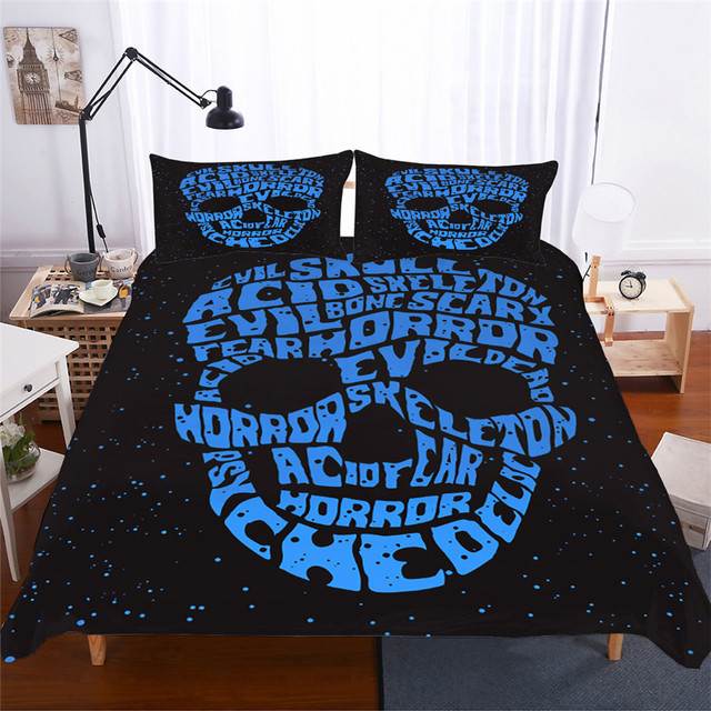 Bedding Set 3D Printed Duvet Cover Bed Set skull Home Textiles for Adults Lifelike Bedclothes with Pillowcase #KL06