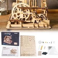 Robot 4 Kinds Wooden Run Game DIY Waterwheel Coaster Wooden Model Building Kits Assembly Toy Gift for Children Adult