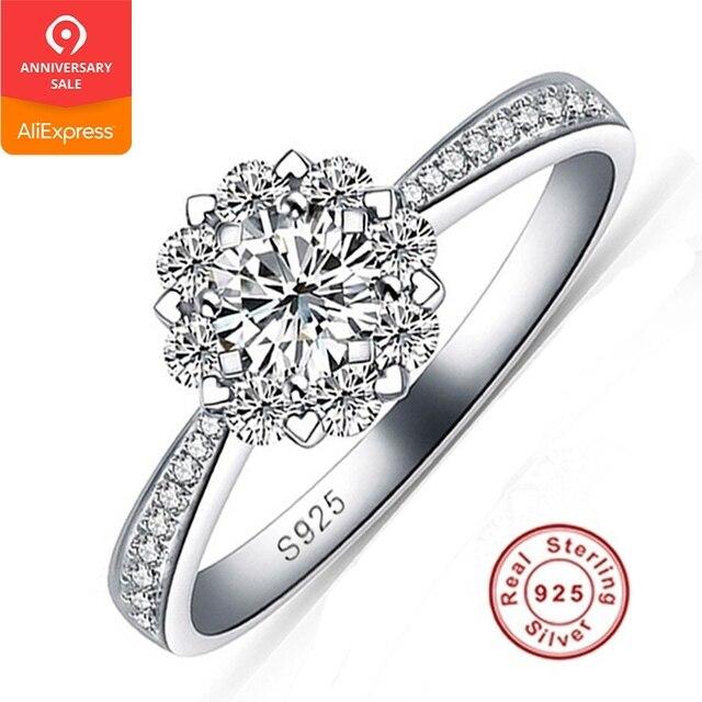 88fa6f7a4056 Promoción bien joyería de plata 925 anillos de boda para las mujeres de  flores de moda