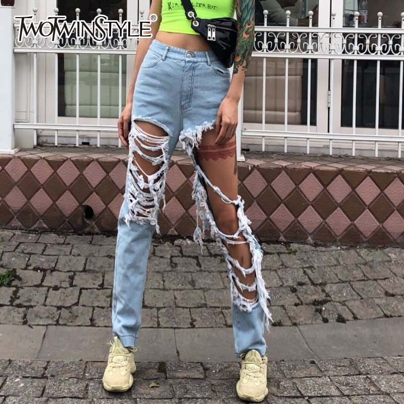 TWOTWINSTYLE Denim Trouser For Women High Waist Ripped Hole Tassel Jeans Female Large Size Streetwear Fashion 2019 Spring Tide