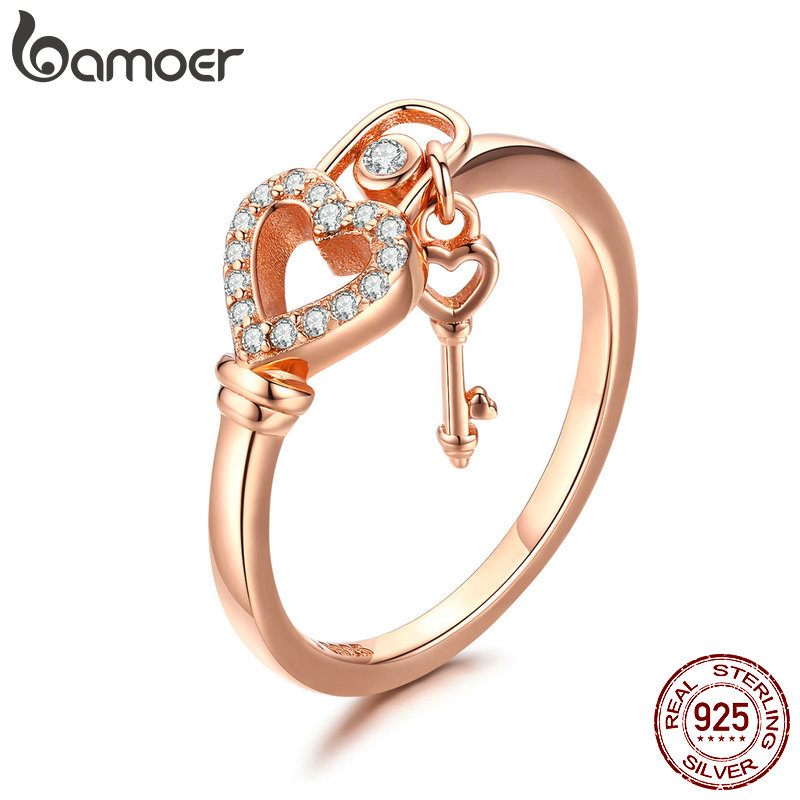BAMOER Romantic New 925 Sterling Silver Heartlock Ring Heart & Love Key Women Adjustable Rings Luxury Jewelry Anel SCR501