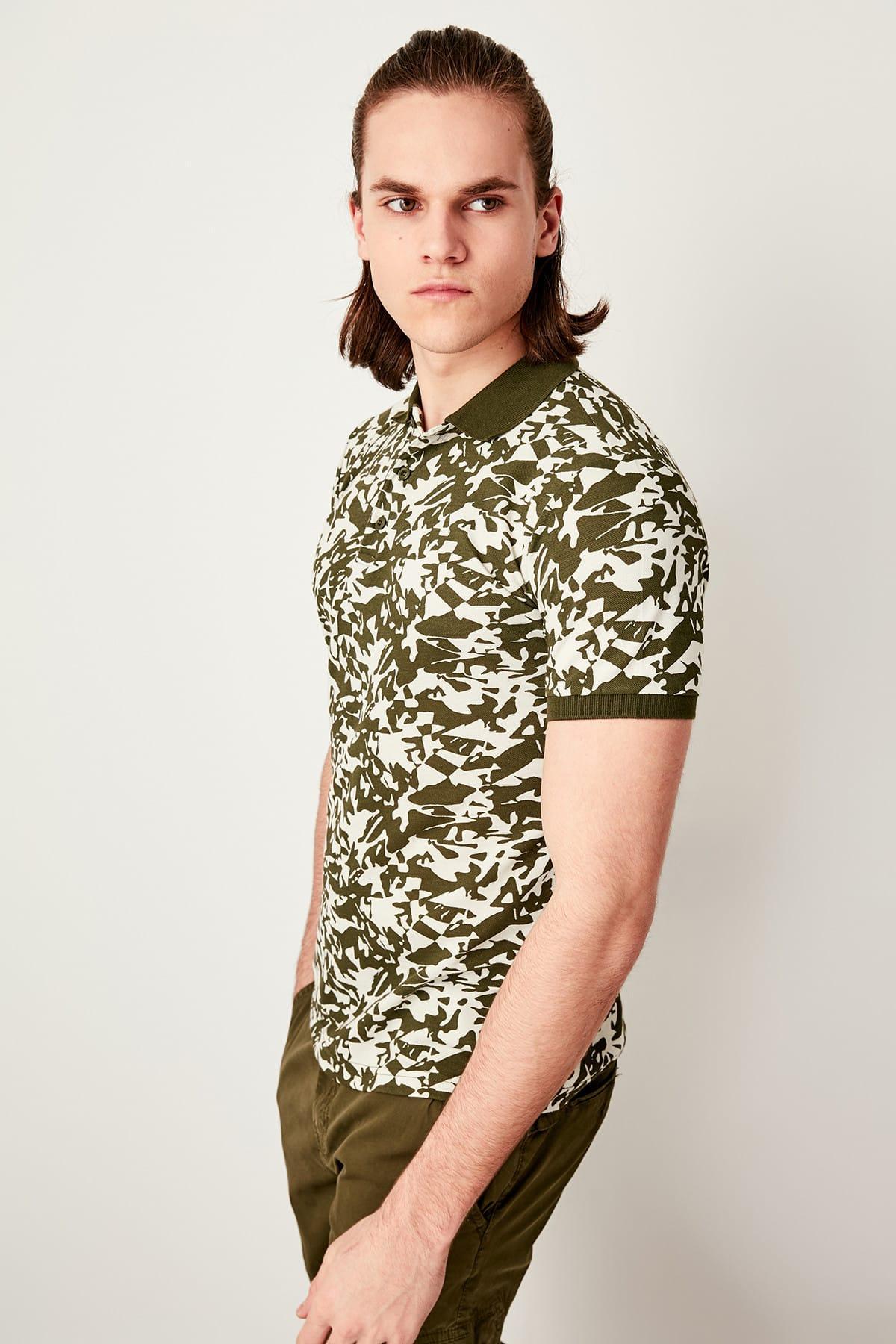 Trendyol Haki Gedruckt Slim Fit Polo Neck T Shirt Tmnss19hd0014 QualitäTswaren
