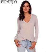купить Women tshirts Autumn Spring Casual V-Neck Long Sleeve Solid Black White Gray Basic T-Shirt Female Tee Tops Pullover T Shirt дешево