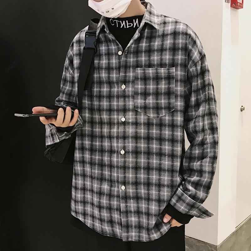 2719b23a098465f 2019 весна новый шаблон Hong распродажа человек с длинным рукавом Гавайская  рубашка в клетку Чистый хлопок Молодежный тренд консервативный Сти..