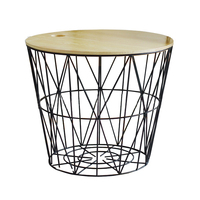 1PC Nordic Style Black Metal Wire Wooden Lid Storage Basket Cosmetic Organizer Holder Office Desk Collection Bedroom Shelf