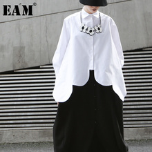 Shirt Women Blouse Fashion Long-Sleeve White Big-Size EAM Irregular Hem Autumn Cut-Stitch