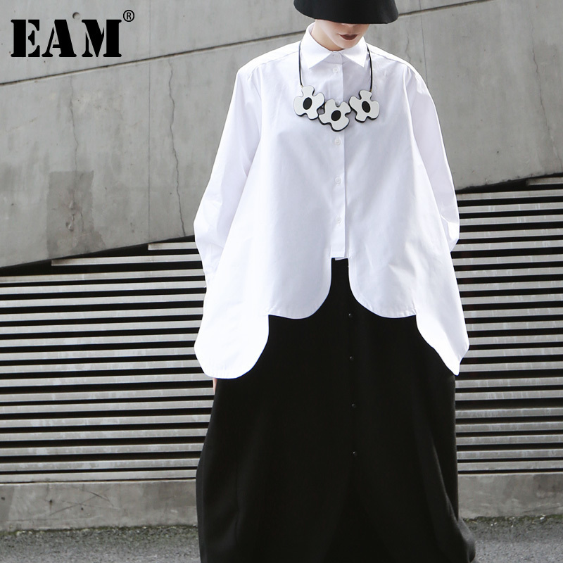 [EAM]2019 New Spring Summer Lapel Long Sleeve White Irregular Hem Cut Stitch Irregular Big Size   Shirt   Women   Blouse   Fashion JO195