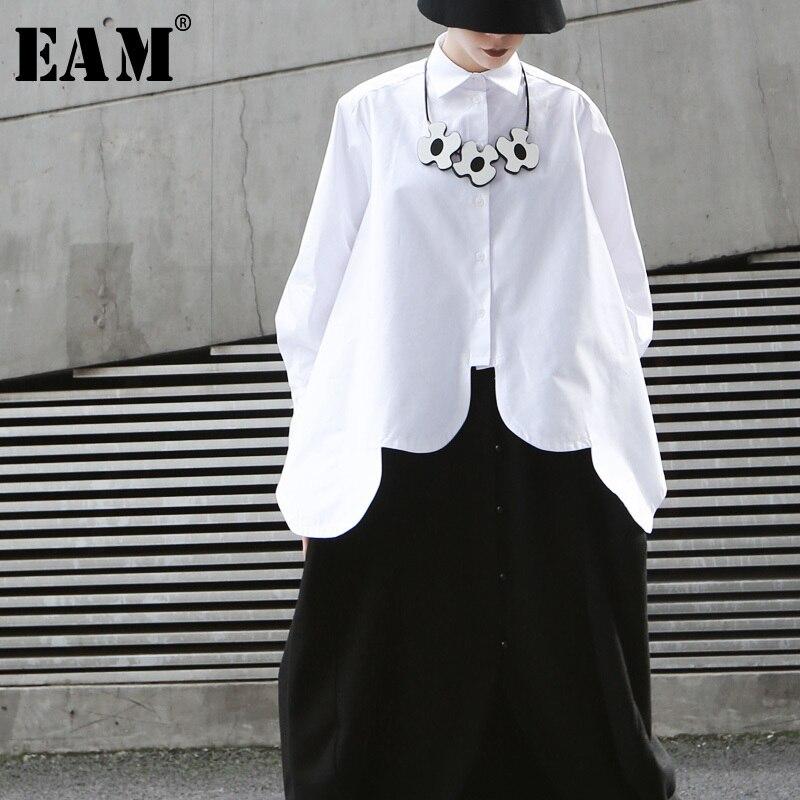 [EAM]2020 New Spring Autumn Lapel Long Sleeve White Irregular Hem Cut Stitch Irregular Big Size Shirt Women Blouse Fashion JO195