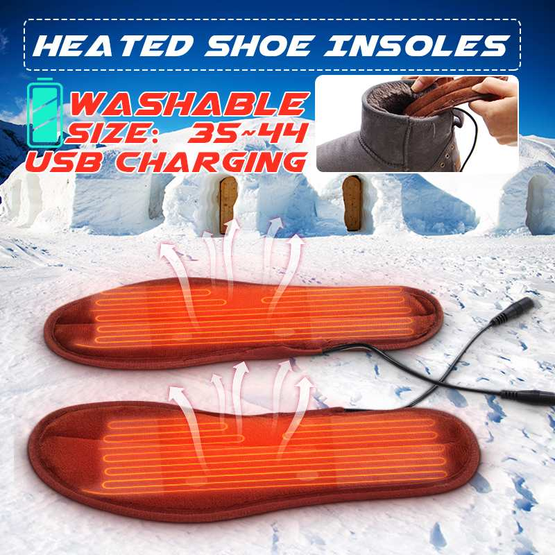 Rechargeable Electric Heated Insoles Inserts Foot Warmer Heater Winter Fleece Heating USB Heat Boots Shoes Pad  For Men Women