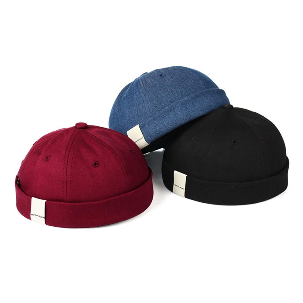 Harajuku Adjustable French Brimless Hat Mens Vogue Retro Skull cap Docker Sailor Cap Biker   Beanie   Retro Sun Hats Vintage Unisex