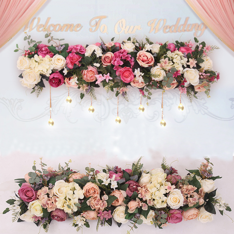 Image 2 - 1M Road cited artificial flowers row wedding decor flower wall arched door shop Flower Row Window T station Christmas Flores-in Artificial & Dried Flowers from Home & Garden
