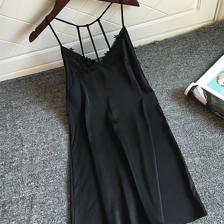 2019 New Arrival Women Sexy Backless Sleeveless Mini   Nightgowns   Summer Solid Slim Thin   Sleepshirts