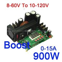 900W Power Supply Module DC8~60V to 10~120V 15A NC Adjustable Voltage Regulator DC12V 24V Boost Converter with Voltmeter Ammeter