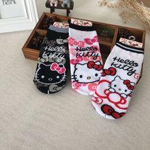 783bc4f3c Cartoon Hello Kitty Women Socks Casual Funny Cute Kitten Stitching Pattern  Cotton Socks Harajuku Kawaii Animal