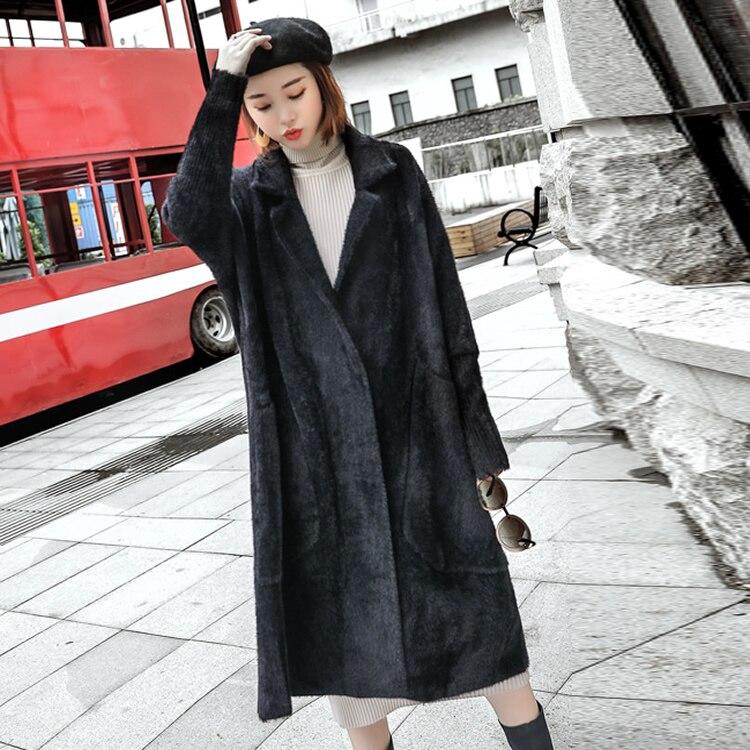 Revers Blanc Femelle Veste D'hiver Faux Pardessus Long Casaco Outwear De Manteaux Feminino Épaissir Black light White Fourrure Casual Purple Turn Lâche off Chaud UzMGqVSp