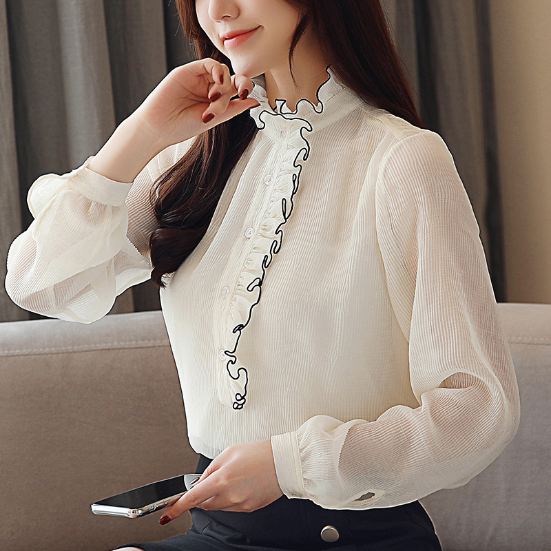 New 2019 Spring Fashion Casual White Chiffon Women Office Blouse Stand Collar Long Sleeve Ladies Female Tops Blusas Shirts