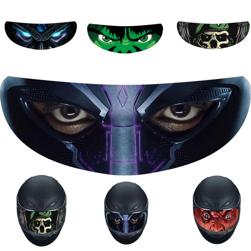 Motorcycle Helmet Decoration Sticker Detachable Racing Helmet Lens Visor Cool Applique Personality Film Translucent Lens Decal
