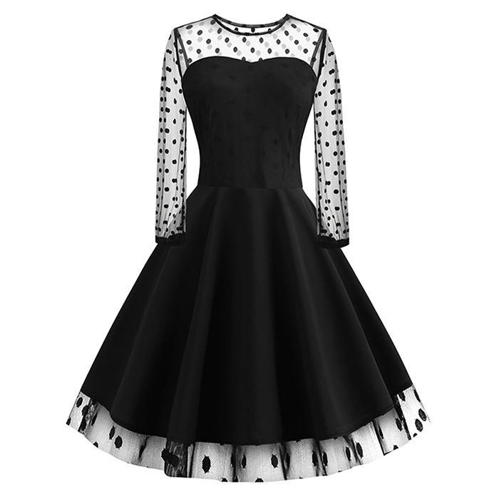 AL'OFA New Women A-line   Cocktail     Dress   O-neck Patchwork Long Sleeve Knee Length Pleated Sexy Party Proms Black Homecoming   Dress