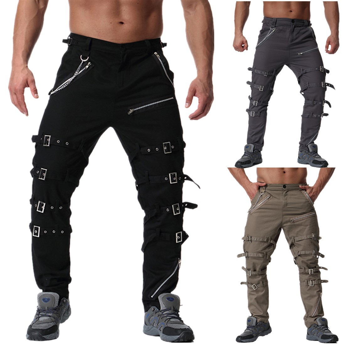 2020 Devil Fashion Punk Men's Detachable Pants Steampunk Gothic Black Scotland Kilt Trousers Man Casual Cotton Pants With Kilt