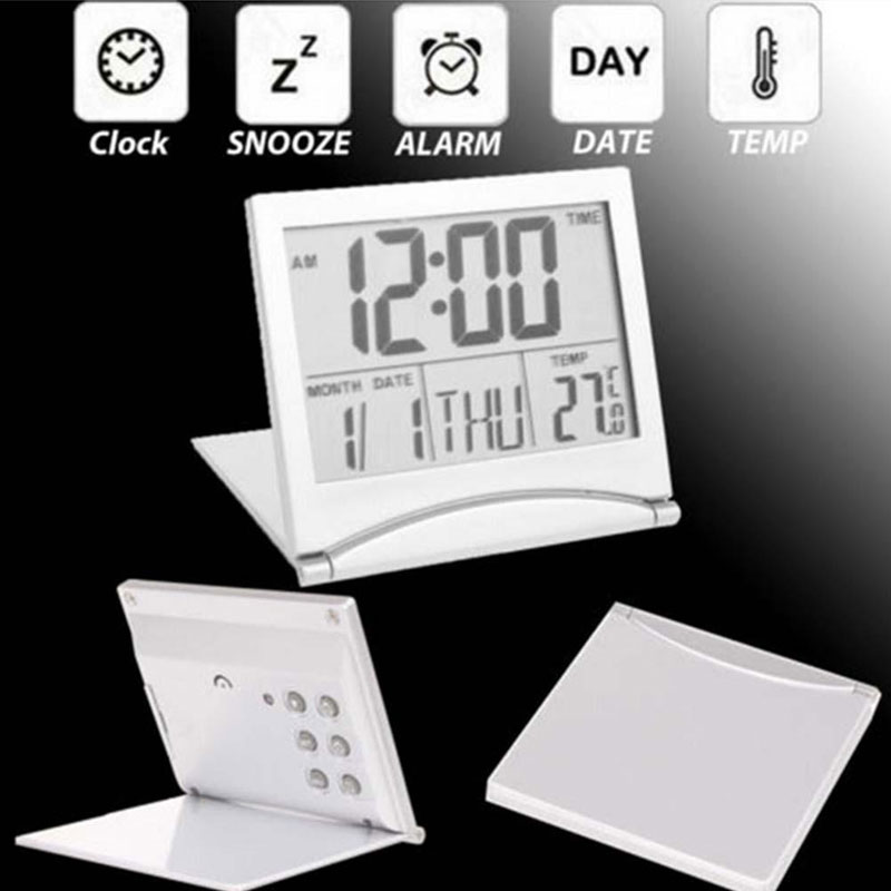 Image 5 - Mini Folding LCD Digital Alarm Clock Desk Table Weather Station Desk Temperature Portable Travel Alarm Clock-in Alarm Clocks from Home & Garden