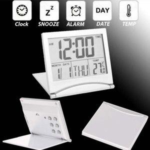 Image 5 - Mini składany LCD cyfrowy budzik zegar biurko stół stacja pogodowa biurko temperatura przenośny budzik podróżny