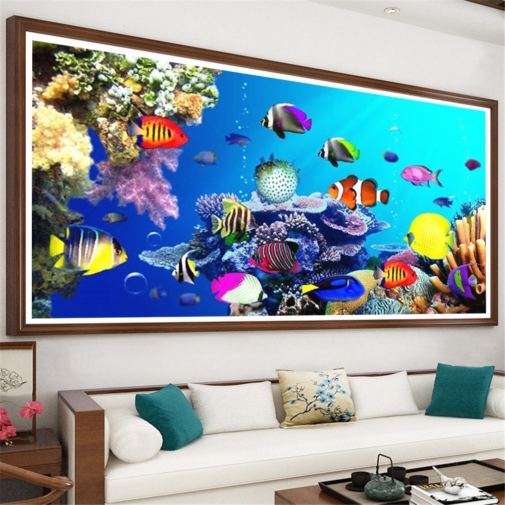 HUACAN Diamond Painting Animal Full Drill Square Diamond Embroidery Seabed Picture Rhinestone Diamond Mosaic Decor Home Gift HUACAN Diamond Painting Animal Full Drill Square Diamond Embroidery Seabed Picture Rhinestone Diamond Mosaic Decor Home Gift